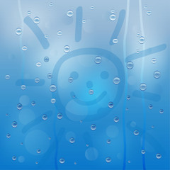 background for a design with the drops of rain and picture of a