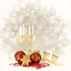 Champagne Glasses. New Year and Christmas Celebration with Copy