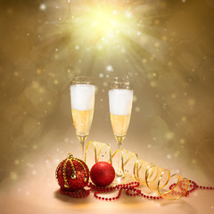 Champagne Glasses. New Year and Christmas Celebration