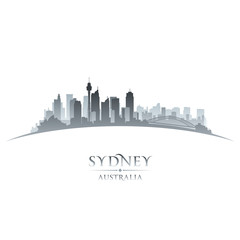 Sydney Australia city skyline silhouette white background