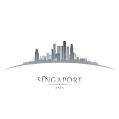 Singapore Asia city skyline silhouette white background