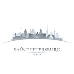 Saint Petersburg Russia city skyline silhouette white background