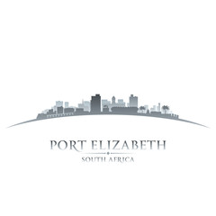 Port Elizabeth South Africa city skyline silhouette white backgr