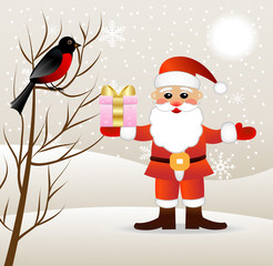 Santa claus with a gift and bird bullfinch