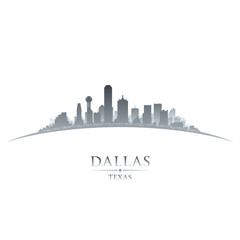 Wall Mural - Dallas Texas city skyline silhouette white background