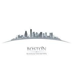 Boston Massachusetts city skyline silhouette white background