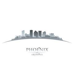 Phoenix Arizona city skyline silhouette white background