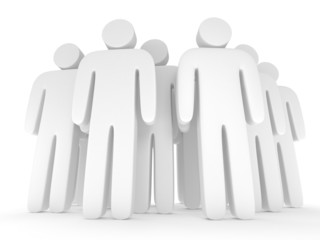 Group of stylized blank people stand on white