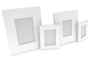 Empty blank photo frames on white. 3D render.