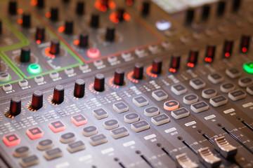 music console in studio