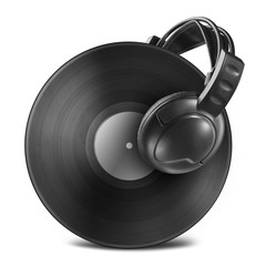 Black vinyl record disc with headphones isolated on white