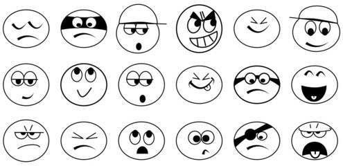 Various simple black and white emoticons - illustrations
