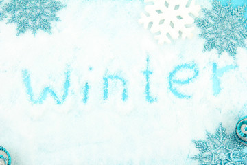 Winter background on snow, close up
