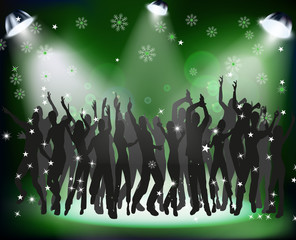People dancing at a Christmas party on green background