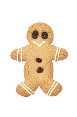 Gingerbread man on white background with clipping path