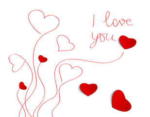 Heart from paper ,Valentines Day greeting card