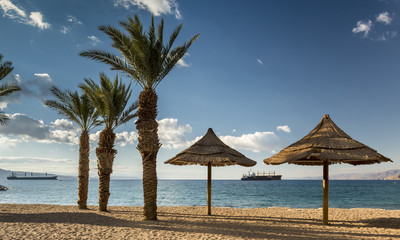 Morning view on the Red sea from north beach,Eilat