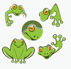 Cute green tree frog cartoon character Icons