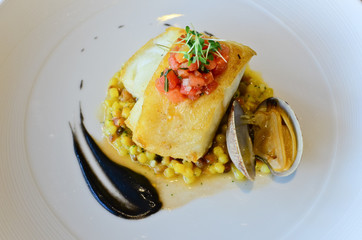 Seared Atlantic Cod, Fregola Sarda, Black Garlic & Vongole