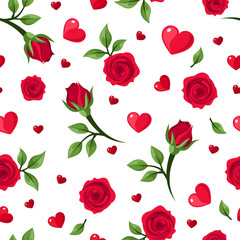 Vector seamless pattern with red roses and hearts on white.