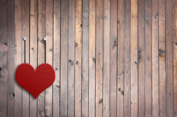 Love Valentine heart and grunge wooden background