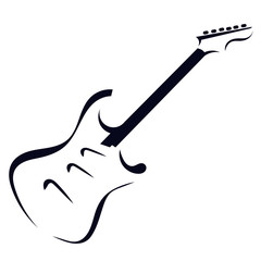 Black silhouette of electric guitar