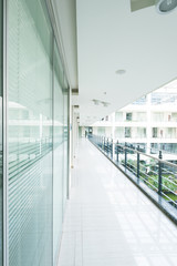 The simplicity of the interior office corridors