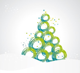 stylized Christmas tree from ribbons circles