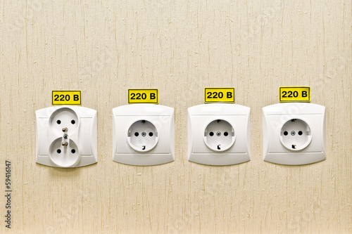 plug socket 220 volt on the wall of the office stockfotos und lizenzfreie bilder auf fotolia. Black Bedroom Furniture Sets. Home Design Ideas