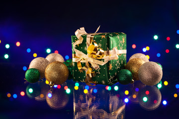 Christmas decorations bulb and lights with gift