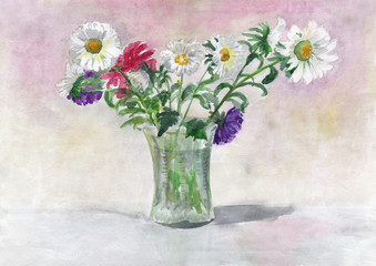 Bouquet of asters in a vase