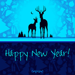 Happy New Year vector card or background with ribbons, Santa`s h