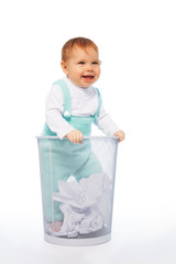 Baby in the garbage basket