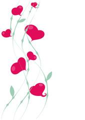 Florales Band mit 7 Herzen, freistehend, dekorativ