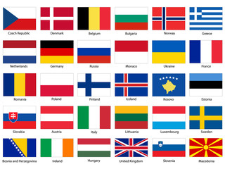 Flags of Europe Vector Set