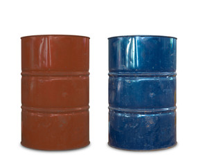 Rusty metal oil barrels on white background