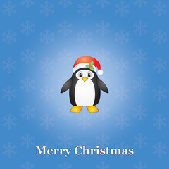 blue Merry Christmas background with penguin