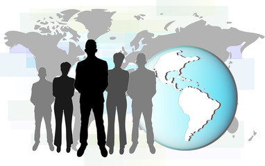 Illustration of international business people with earth.
