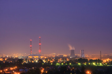 Smoke from the pipes of heat station, Krakow, Poland