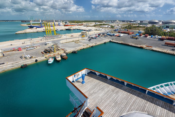 Logistic industrial harbour in a FreePort Bahamas