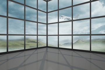 Airplane flying past window