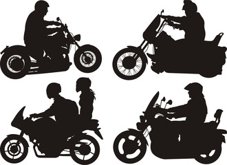 Fototapete - bikers, riders - silhouettes