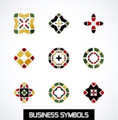 Abstract geometric business symbols. Icon set