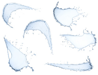 pure water splash collection isolated on white background