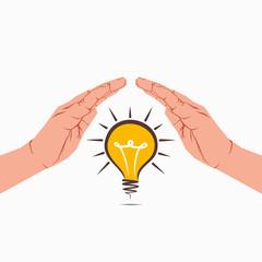 bulb under hand or new idea or energy concept