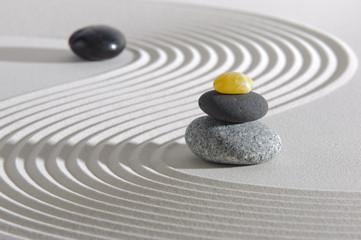 Japan zen garden with stones in raked sand