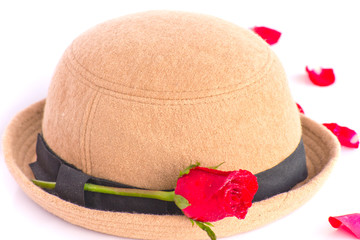 red rose with hat Lady