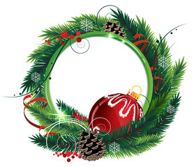 Christmas wreath with red bauble