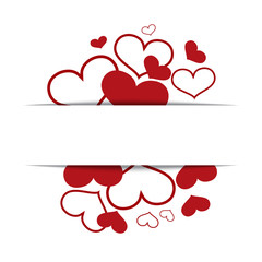 Hearts on a white background, concept love, Valentine's day