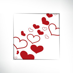 Hearts on  white background, concept love. Vector